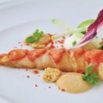 Cola de bogavante,panna cotta de verduras de invierno y mayonesa de coral  bb